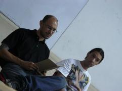 Los poetas Edgar A Sanchez P y CArlos Luis Sanchez en la FEDA